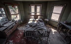 Картинка комната, кровать, интерьер