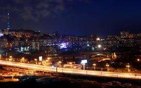 Картинка ночной, Владивосток, путепровод