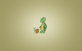 Картинка черепаха, улитка, минимализм, поводок, turtle, snail, выгуливает