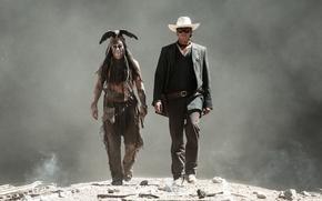 Картинка Johnny Depp, Джонни Депп, The Lone Ranger, Арми Хаммер, Одинокий рейнджер, John Reid, Tonto, Armie ...