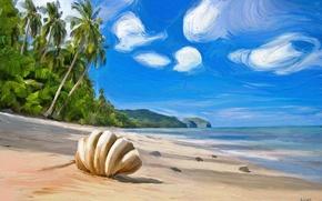 Картинка пляж, пейзаж, живопись