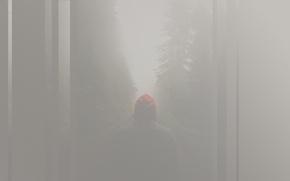 Картинка туман, полосы, силуэт