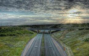 Обои дорога, мост, разметка, hdr