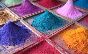 Обои цвет, краски, палитра, кучки, песок