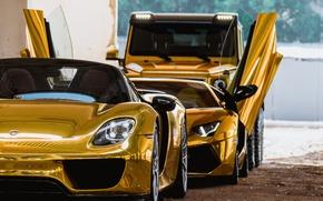 Картинка Golden, Lamborghini Aventador, Porsche 918, Mercedes 6x6