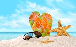 Картинка песок, море, пляж, небо, облака, природа, beach, sky, sea, nature, clouds, sand, glasses, морские звезды, …