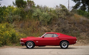 Картинка Mustang, Ford, Muscle, 1969, Red, Car, Classic, Musclecar, Boss, American, 429, NasCar