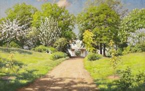 Картинка дорога, зелень, облака, деревья, пейзаж, цветы, дом, тень, картина, весна, солнечно, кусты, сирень, дача, каштаны, …