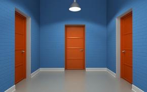 Картинка комната, двери, светильник
