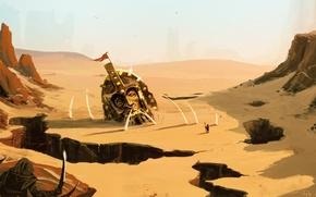 Картинка песок, пейзаж, оружие, фантастика, скалы, пустыня, человек, голова, войны, арт, шлем, статуя, провалы