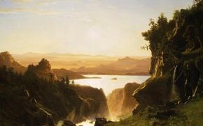 Картинка пейзаж, природа, картина, Альберт Бирштадт, Island Lake. Wind River Range. Wyoming