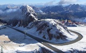 Картинка дорога, машина, снег, горы, арт, городок, лэп