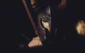 Картинка девушка, рендеринг, фон, воин, шлем
