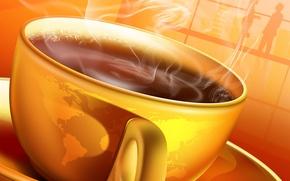 Картинка кофе, горячий, утро, чашка