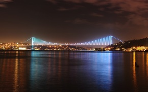 Картинка istanbul Turkey, Стамбул Турция, пролив Босфор панорамный вид, Bosphorus bridge panoramic view, city, город, lights, ...