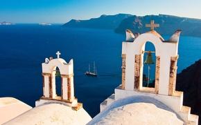 Картинка острова, яхта, Санторини, Греция, колокола, Santorini, Oia, Greece, Эгейское море
