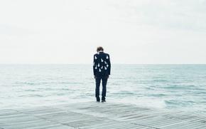 Картинка sad, sea, ocean, seascape, man, pier, bulb jacket
