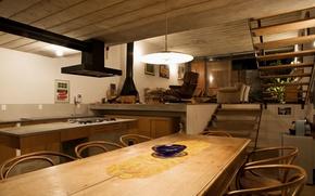 Картинка стол, стулья, техника, кресла, кухня, ступеньки, камин, houses, гостиная, диван.