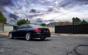 Картинка Mercedes-Benz, wheels, black, мерседес, E350, rearside, чеоный