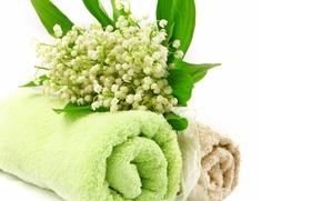 Картинка цветы, полотенце, ландыши, спа