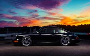 Картинка 911, Porsche, Classic, Black, Sunset, Carrera, Side