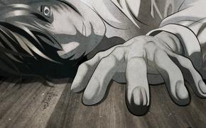 Картинка рука, тетрадь смерти, Death note, безумие, Kira, Yagami Light