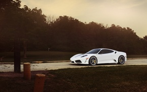 Обои ferrari, f430, scuderia, white, sunset, феррари, ф430