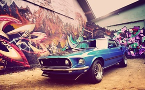 Картинка дома, Mustang, Ford, 1969, графити, Classic, Muscle Car