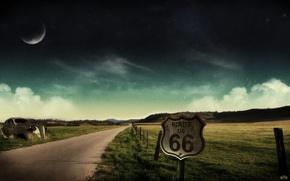 Картинка дорога, машина, небо, пейзаж, ночь, город, огни, туман, холмы, луна, звезды. луна