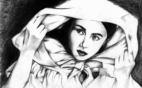 Картинка глаза, взгляд, девушка, лицо, фон, руки, плащ, живопись, накидка