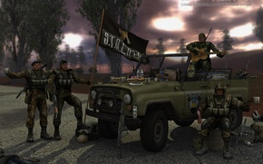Картинка машина, оружие, капот, солдаты, водка, поздравление, УАЗ, закуска, S.T.A.L.K.E.R., февраля