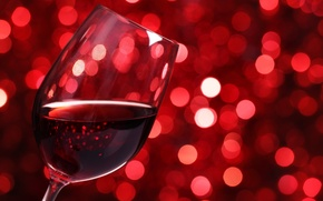 Картинка стекло, огни, вино, красное, бокал, боке