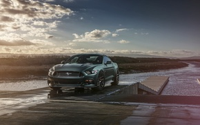 Картинка 2015, Car, Muscle, Sunset, Front, Wheels, Velgen, Mustang, Ford
