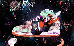 Картинка девушка, космос, капли, сова, краска, заяц, обувь, созвездия, кросовки