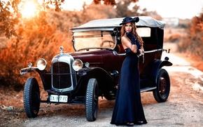 Картинка авто, девушка, ретро, раритет, винтаж, Alessandro Di Cicco, Old Torpedo