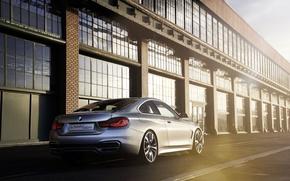 Картинка Concept, BMW, Бумер, Концепт, Свет, Серебро, Здание, Блик, Coupe, 4 Series