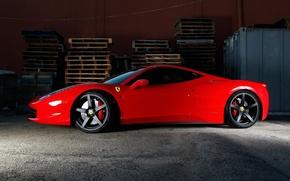 Картинка красный, профиль, red, ferrari, феррари, италия, 458 italia, тонированный, чёрные диски