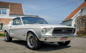 Картинка Mustang, Ford, house, white