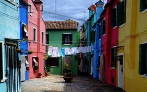 Картинка дома, Италия, Венеция, бельё, Italy, Venice, Italia, Venezia, Двор, Бурано, Burano