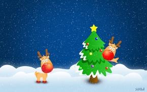 Картинка зима, снег, елка, новый год, Олени