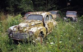 Картинка поле, машины, лом