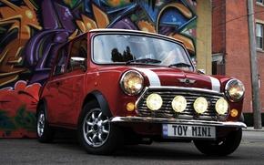 Обои Mini Cooper, Машина, Граффити, Фары, Авто, Колеса, Mini, Мини Купер