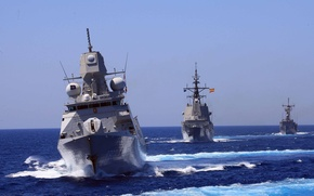 Картинка море, волны, корабль, корабли, красиво, флот, боевые, идут.
