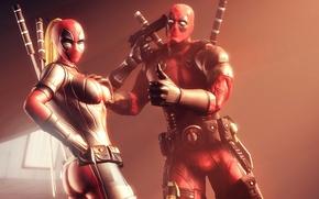 Картинка Deadpool, Дэдпул, наемник, Marvel Comics, Wade Wilson, антигерой, суперзлодей, Wanda Wilson, Lady Deadpool