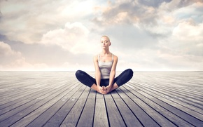Картинка девушка, медитация, relax, йога