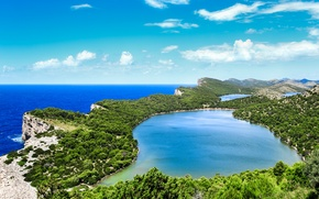 Картинка море, небо, облака, скалы, побережье, горизонт, Хорватия, озёра, Savar