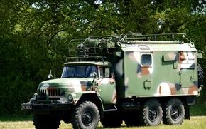 Картинка камуфляж, автомобиль, раскраска, грузовой, советский, повышенной проходимости, военный вариант, ЗИЛ-131 с будкой
