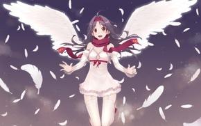 Картинка game, smile, anime, cloud, wings, feathers, pretty, angel, MMORPG, asian, cute, manga, pretty girl, scarf, …