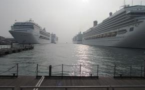 Картинка море, вода, корабли, порт, Лайнеры