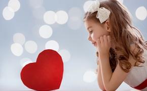 Картинка Сердце, Девочка, Бантик, Valentine's Day, День Святого Валентина